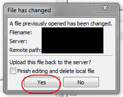 filezilla file has saved prompt