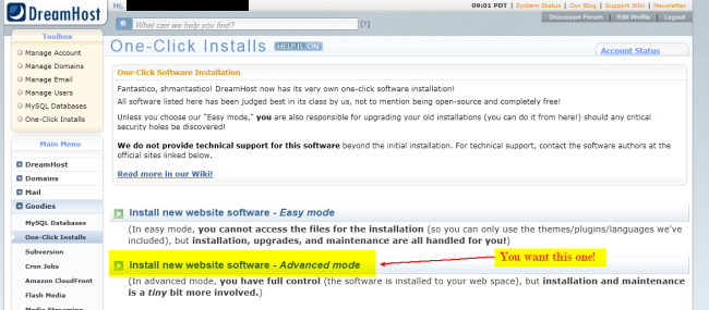 DreamHost One-Click-Install