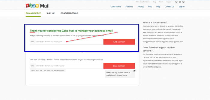 ZOHO add domain name