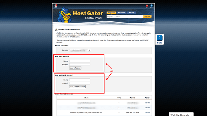 cPanel Add CNAME TXT Record