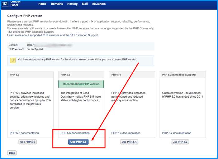 Select php5.5 version 1and1