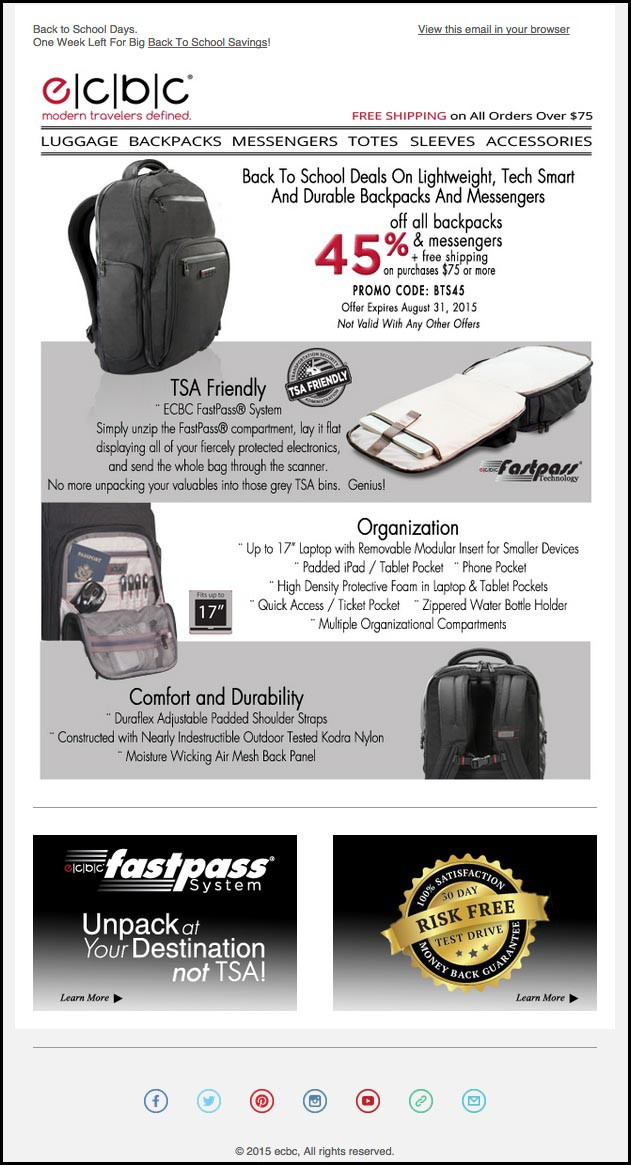 Example of ec-bc luggage company back to school email